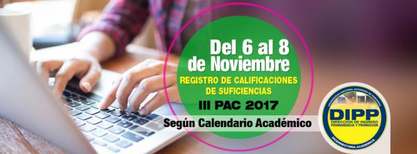 REGISTRO DE CALIFICACIONES DE SUFICIENCIAS segun calendario academico